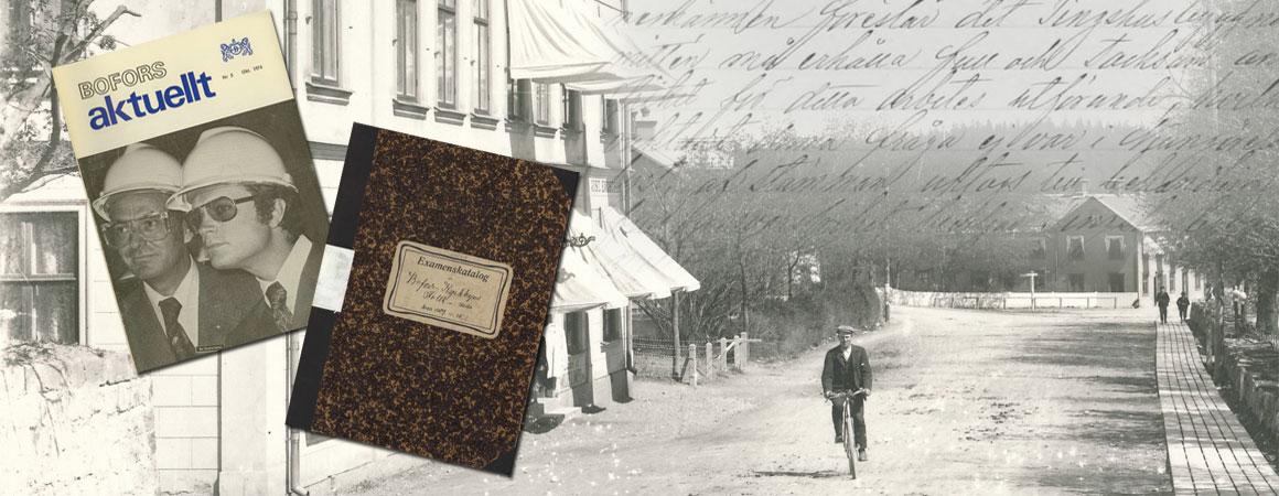 Ett svartvitt foto från Karlskoga förr i tiden där en man cyklar i riktining mot kameran, på en väg inne i Karlskoga. Infälld i bilden finns två bokomslag.